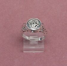 Sterling Silver poison pillbox locket ring size 9 925 Sterling Celtic design  b2