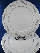 Flintridge China DINNER PLATES Continental White Gray & White Leafs, Set of 2