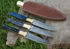 HAND FORGED DAMASCUS STEEL HUNTING DAGGER BOOT THROWING DOUBLE EDGE KNIFE
