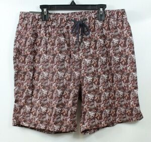 7 Diamonds Men's Drawstring Printed Shorts Brown Floral size Medium