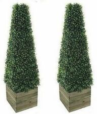 Twin Artificial Trees Pyramid Cone Plant Pot 3ft Outdoor Indoor Lifelike  Fake