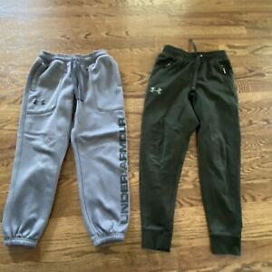 Boys UNDER ARMOUR Cold Gear Jogger Sweat Pants Youth Small YSM Fitted Green Gray