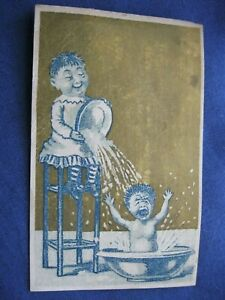 Victorian Trade Card C.J. Vining Cleveland OH Baby CRIES in Bath Girl DUMPS 6