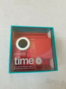 Pebble Time Round 14mm Band Android iOS Smartwatch - Silver/Red Leather Watch