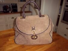 Topshop large brown suede handbag tote bag with fold over flap