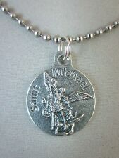 """St Michael / Proud To Be American Medal Italy 24"""" Stainless Steel Ball Chain"""
