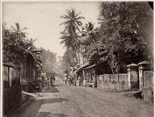 c.1880's PHOTO INDIA CEYLON PEOPLE ON VILLAGE STREET