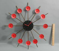 RARE 1960s Mid Century Modernist BULOVA Red & Black Brass Starburst Clock, NR