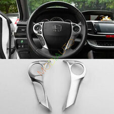 2pcs For Honda Accord 2014-2016 ABS Chrome Steering Wheel Decorative Cover Trim