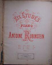 ) partition ancienne SIX ETUDES POUR PIANO  - Antoine Rubinstein