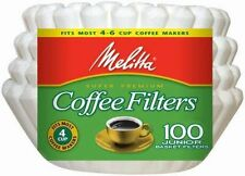 Melitta 4-6 Cup Jr. Basket Paper Coffee Filters White, 100 Count