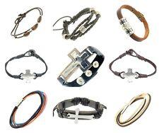 Black Brown Leather Cord Bracelet Wrap Around Wristbands Strap Crucifix Cross