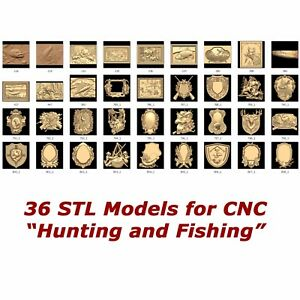 """36 3d STL Models - """"Hunting and Fishing"""" for CNC relief artcam 3d printer aspire"""