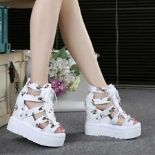 Womens peep Toe Hollow out high Wedge Heel Lace Up Platform Sports Sandals Shoes