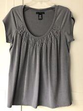 Womens Top XL  Gray Short Sleeve Scoop Neck Apostrophe
