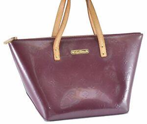 Authentic Louis Vuitton Vernis Bllevue PM Hand Bag Purple M93584 LV D2868