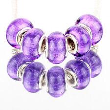 Bling ribbon purple 5pcs MURANO bead LAMPWORK suit European Charm Bracelet