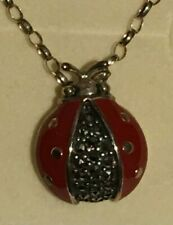 Cute Ladybird Pendant 925 Solid Sterling Silver Chain Necklace with box