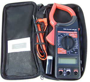 CLAMP ON DIGITAL MULTI TESTER METER TOOL with case LED Audio new test kit