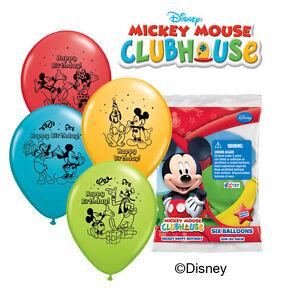 "6 pc 12"" Mickey Mouse Happy Birthday Party Latex Balloons Minnie Goofy Donald"