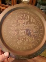 Pair of 2 Ornate Vintage Egyptian Brass and Copper Inlaid Wall Plates