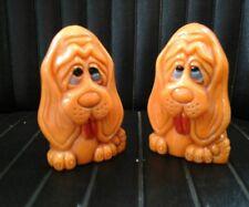 Vintage Orange Plastic Hound Dogs Salt & Pepper Shaker Set