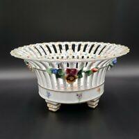 "Dresden 10"" Reticulated Pierced Bowl Sculpted Flowers WOW MINT"