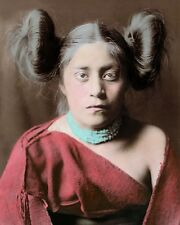 """TEWA NATIVE AMERICAN INDIAN GIRL 1906 8x10"""" HAND COLOR TINTED PHOTOGRAPH"""