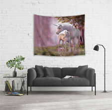 """Unicorn Fairy Tale Forest Wall Hanging Tapestry Bedspread Dorm Home Decor 80X60"""""""