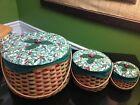 Longaberger 2003 Set Holiday Hostess Melody-Caroling Joyful Chorus Baskets