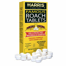 NEW Harris FAMOUS ROACH TABLETS No Expiration KILLS ROACHES WATERBUGS SILVERFISH