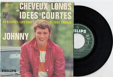 """JOHNNY HALLYDAY CHEVEUX LONGS ET IDEES COURTES RARE RECORD FRANCE 7"""" EP 45rpm"""