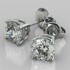 14kt White Gold Over 4Ct Round Cut Moissanite Solitaire Earrings Stud PAIR Women
