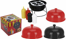 Plastic Kettle Style BBQ  on Stand Condiment Holder Set Sauce Bottle Salt Peppe