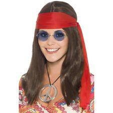 femmes hippie Kit Perruque+bandeau lunettes+Déguisement collier