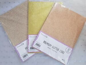 Dovecraft Card - GLITTER 300gsm - 4 SHADES - 10 sheets per pack  **Free Post**