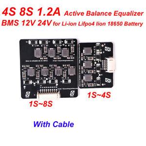 1.2A Active Balance 4S 8S Li-ion Lifepo4 3.2V 3.7V Battery Equalizer BMS 12V 24V