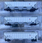 n scale red caboose ribside 4740 Cu Ft hoppers union pacific runner set 3RD# UP