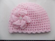 Baby Girl Pink Crochet Hat with a lovely large flower 0/3mths
