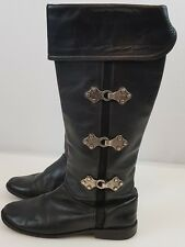 7e245d3a2 Frye Womens Leather Boots Black 6 Paige Clovertab Cuff Equestrian Pull On  Pirate