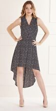 Mela Black Daisy Dot Wrap Front High Low Dress Uk 16