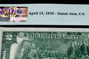 1976 $2 FEDERAL RESERVE NOTE-MISSPELLING HOLDER-Sanat Ana-(Santa Ana) PMG #64 CU