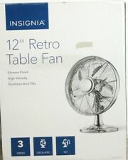 """Insignia Retro Categories 12"""" Oscillating 3-Speed Personal Table Desk Fan New"""