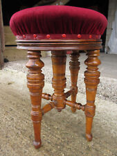 Victorian walnut piano stool, adjustable, upholstered, central column (531)