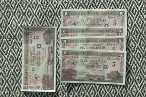 5 x New 2006 sequened Pairs Ulster Bank £5 Notes George Best uncirculated