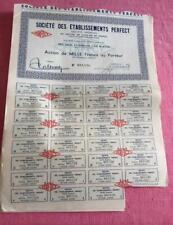 Vintage Francés compartir Bond certificado Societe des Etablissements Perfecto PARIS