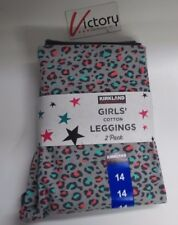 NEW Kirkland Girls' Cotton Leggings 2 Pack Gray & Cheetah Print Size 14