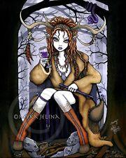Therianthrope Horned Goddess Nature Spirit Fae Art Print Tawny Myka Jelina