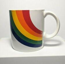 "Rainbow Mug Coffee Cup LGBTQ Pride Vintage 3 1/2"" Tall Ceramic 1984 Korea FTD Fl"