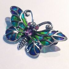 Amethyst Sterling Silver Plique a Jour butterfly insect brooch lapel tie pin
